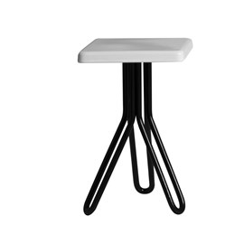 LACQUERED SQUARE STOOL