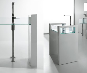 Column washbasin Glass